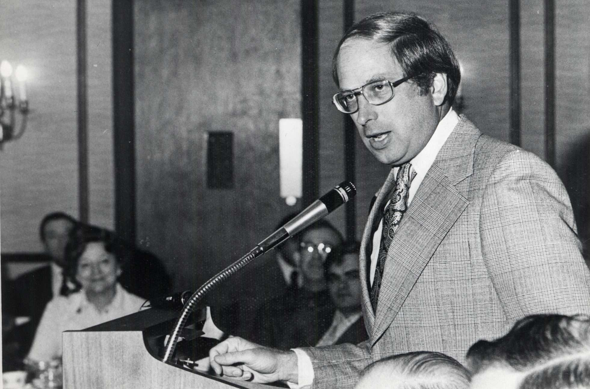 Senator Sam Nunn Speaks at the Plaza Restaurant, c.1975